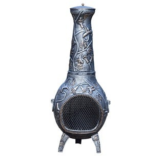 Oakland Living Corporation Silver Wrought Iron Lattice Chimenea With Built-in Handles, Grate, and Spark Guard Screens