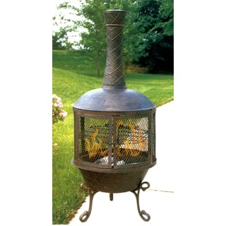 Heavy Duty Pennsylvania Chimenea with 360 View, Grill, Grate and Spark Protective Screens and Door