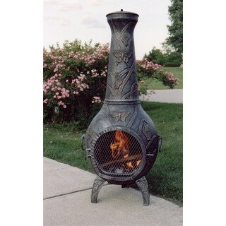 Monarch 53-inch Tall Chimenea with Built-in Handles, Grate, Spark Protective Screen, and Door