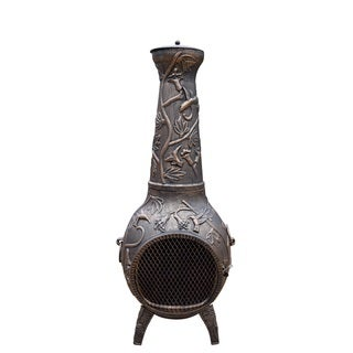 Lattice 53-inch Tall Chimenea with Built-in Handles, Grate, Spark Protective Screen, and Door