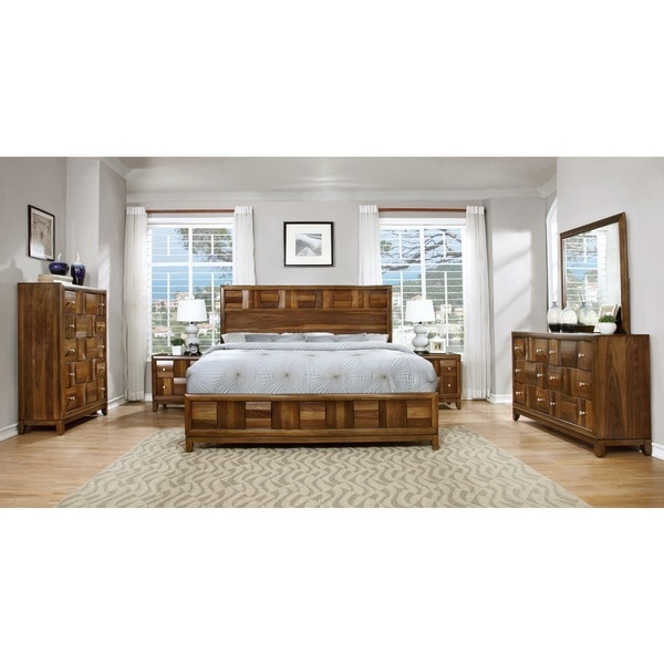 Calais Solid Wood Construction Bedroom Set With Bed Dresser Mirror 2 Night Stands Chest