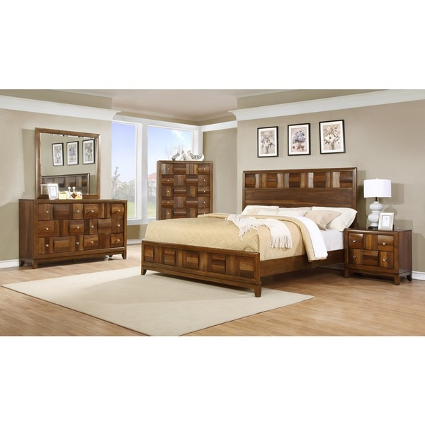 Calais Solid Wood Construction Bedroom Set with Bed, Dresser, Mirror, Night Stand, Chest, Queen, Walnut. Opens flyout.