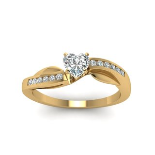 14K Yellow Gold 3/4ct TDW Heart Shaped Channel Set Diamond Engagement Ring (G-H, SI1-SI2) (GIA Certified)