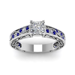 14k White Gold 7/8ct TDW Princess-cut Diamond and Blue Sapphire Wave Engagement Ring