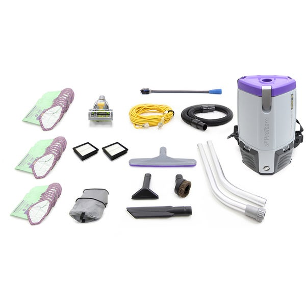 Loaded Proteam Super Coach Pro 6 QT Commercial Backpack Vacuum Cleaner