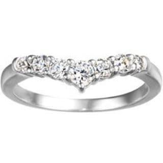 TwoBirch 14k White Gold 1/3ct TDW Diamond Chevron Classic Contour Wedding Ring (G-H, I1-I2)