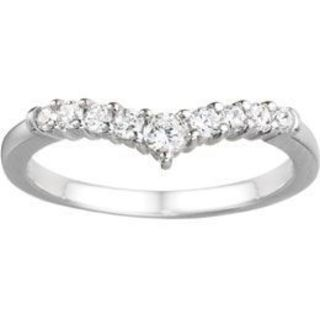 TwoBirch 14k White Gold 1/3ct TDW Diamond Chevron-inspired Curved Band