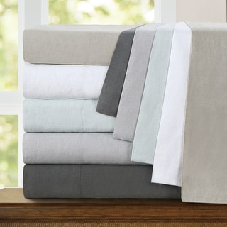Echelon Home Washed Belgian Linen King Size Sheet Set in Eggshell White(As Is Item)