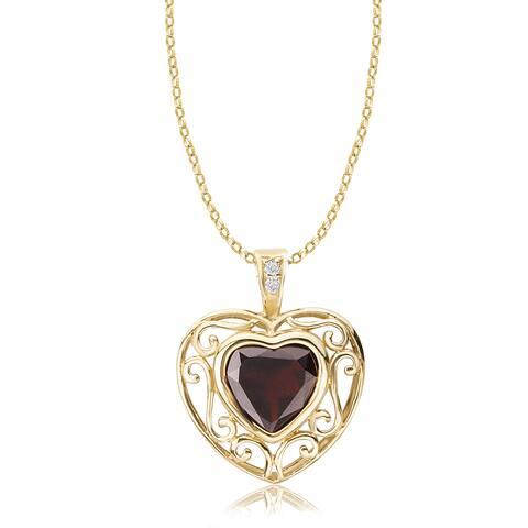 Avanti 14K Yellow Gold Garnet Heart Pendant with a Diamond Accent Pendant Necklace