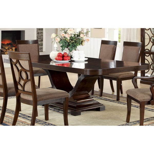 Furniture of america woodburly contemporary walnut dining for Dining room tables home goods