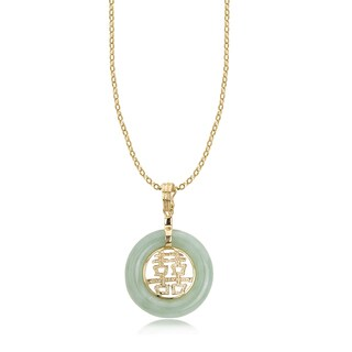 Avanti 14K Yellow Gold Green Jade Circle Double Joy Chinese Symbol Pendant Necklace