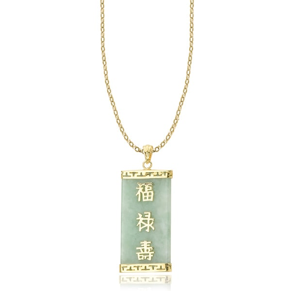 Avanti 14K Yellow Gold Green Jade Pendant with Good Fortune Chinese Proverb Necklace