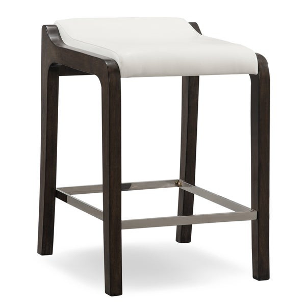 Brown White Wood Faux Leather Fastback Counter Height