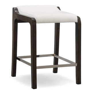 Brown/White Wood/Faux-leather Fastback Counter-height Stool (Set of 2)