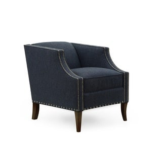 Homeware Lourine Admiral Blue Fabric and Wood Upholstered Chair