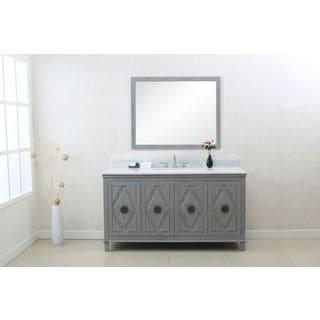 Legion Furniture Grey Wood/Ceramic 60-inch Sink Vanity Cabinet
