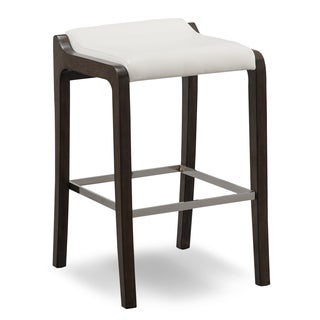 Fastback Wood Bar Stool- with Faux-leather Seat (Set of 2) by KD Furnishings