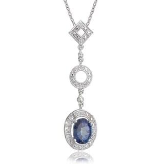 Avanti 10K White Gold Blue Pasion Topaz and Diamond Accent Pendant Necklace