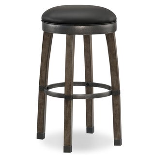 Wood Cask Stave Bar Stool- with Faux-leather Seat (Set of 2) by KD Furnishings