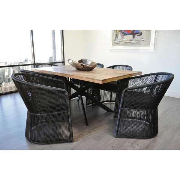 SOLIS Natura 7 Piece Dining Set With Natural Solid Wood And Black Rattan  Chairs