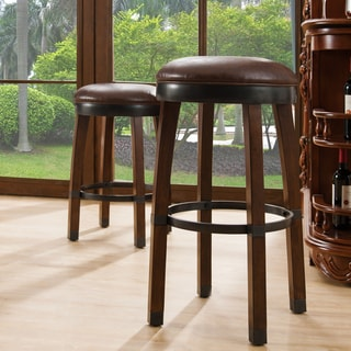 Wood Cask Stave Counter-height Stool with Faux-leather Seat (Set of 2) by KD Furnishings
