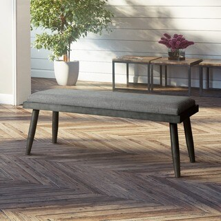 Furniture of America Bradensbrook Mid-Century Modern Style Grey Upholstered Dining Bench