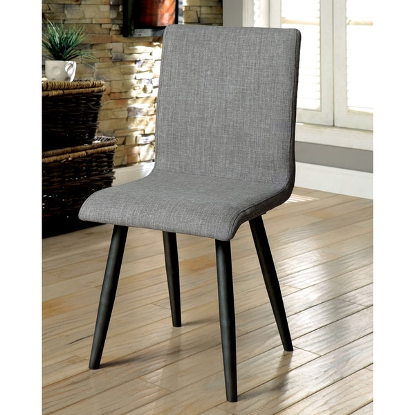 furniture of america bradensbrook mid century modern style grey upholstered side chair set of 2. Black Bedroom Furniture Sets. Home Design Ideas