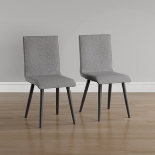 furniture of america midcentury modern style grey upholstered dining chair set of