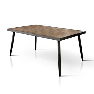 Furniture of America Bradensbrook Mid-Century Modern Industrial Style Metal 64-inch Dining Table - Grey