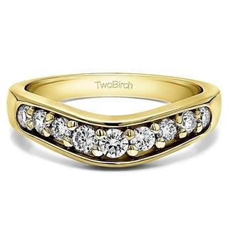 TwoBirch 10k White Gold 1/5ct TDW Diamond Classic Contour Wedding Ring (G-H, I1-I2)