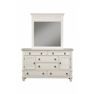 Alpine Furniture White Wood Winchester Mirror