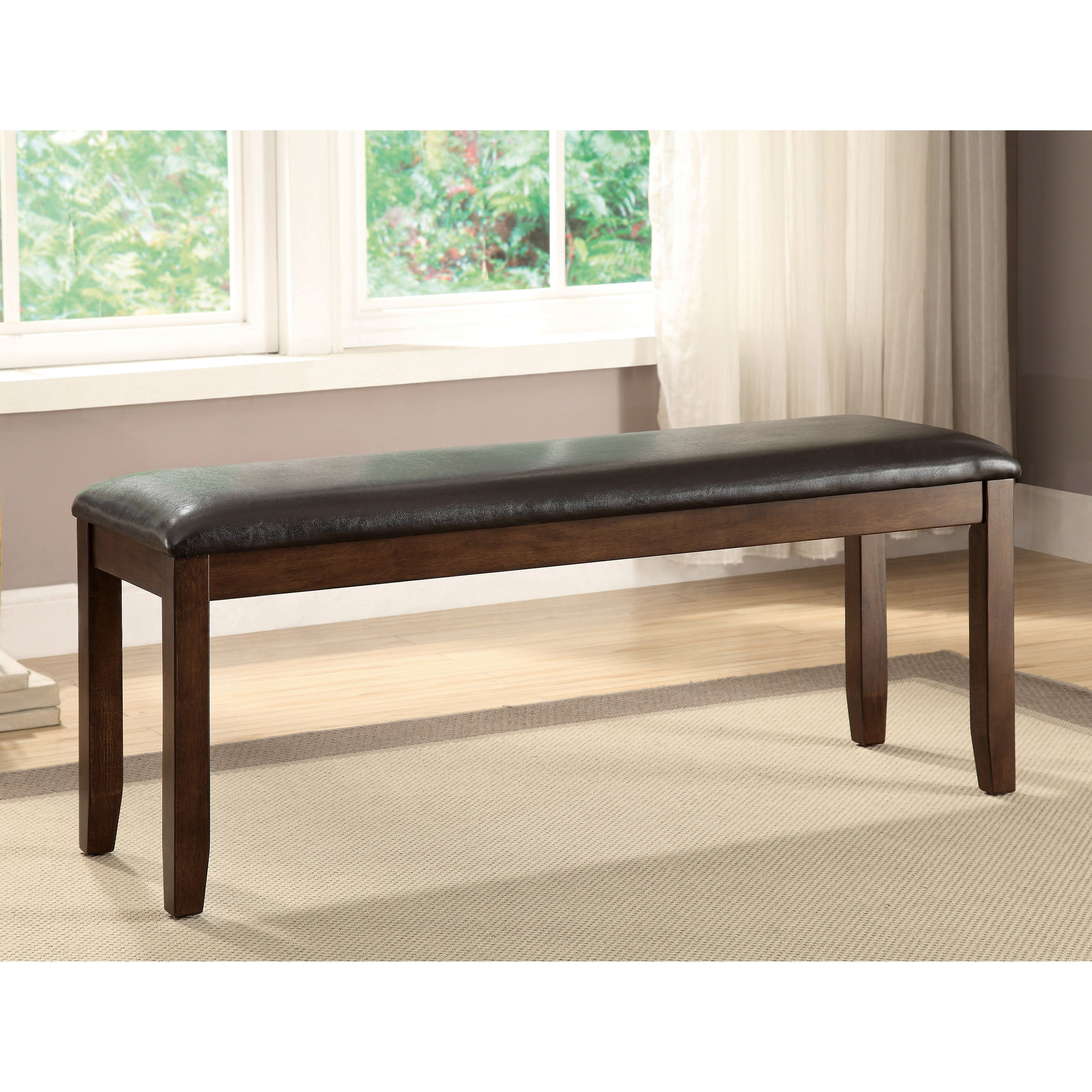 Shop Furniture Of America Casington Country Style Rustic Oak Upholstered Dining Bench Overstock 12984209