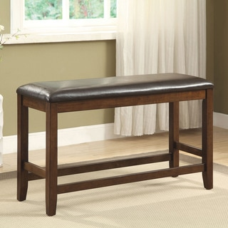 Furniture of America Casington Country Style Rustic Oak Counter Height Upholstered Bench