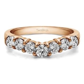 TwoBirch 10k White Gold 1/3ct TDW Diamond Contour Anniversary Wedding Ring (G-H, I1-I2)