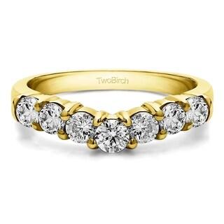 TwoBirch 10k White Gold 1/2ct TDW Diamond Contour Anniversary Wedding Ring (G-H, I1-I2)