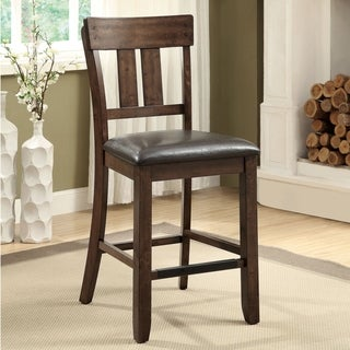Furniture of America Casington Country Style Rustic Oak Counter Height Chair (Set of 2)