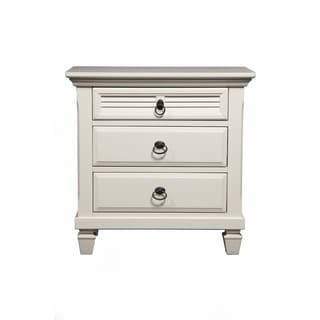 Alpine Winchester White Pine Wood 3-drawer Nightstand