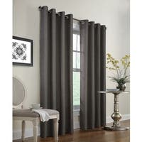 Black and Silver Faux Jute Couture Burlap Window Curtain Panel