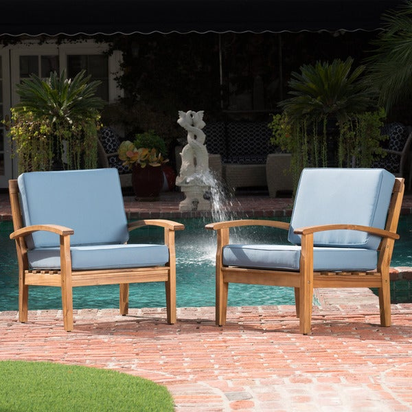 Peyton Outdoor Wooden Club Chair (Set of 2) by Christopher Knight Home. Opens flyout.
