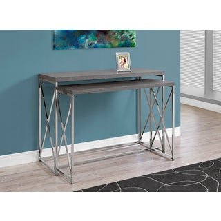 Grey Wood with Chrome Metal Console Table (Set of 2)