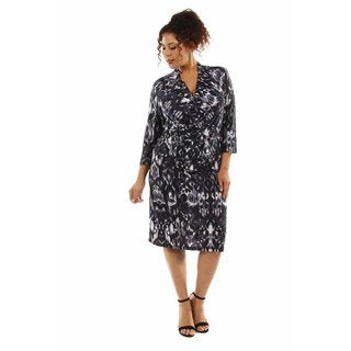 24/7 Comfort Apparel Women's Fabulous Faux Wrap Plus Size Dress