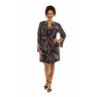 Sexy Smart Taupe Pattern Midi Dress Plus Size