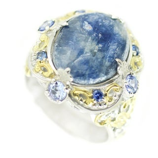 One-of-a-kind Michael Valitutti Opaque Blue Sapphire with Tanzanite and Blue Sapphire Cocktail Ring