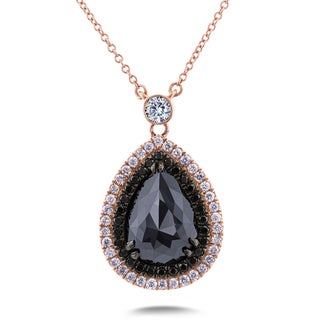 Annello by Kobelli 18k Rose Gold 3 2/5ct TDW Black and White Diamond One-of-a-kind Droplet Necklace
