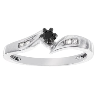 H Star Platina 4 1/10ct TDW Black and White Diamond Accent Promise Ring (I-J, I2-I3)