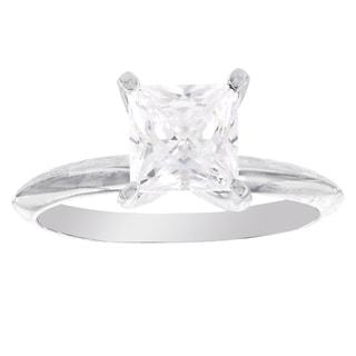 H Star Sterling Silver Princess-cut Diamagem Fashion Ring
