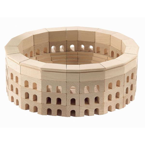 Haba Kids X27 Roman Coliseum Wood Architectural Block Set 110 Piece