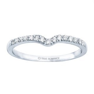 TwoBirch 10k White Gold 1/6ct TDW Diamond Delicate Notched Contour Band (G-H, I1-I2)