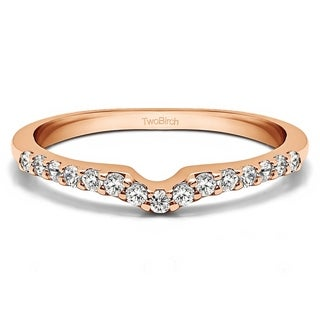 TwoBirch 14k White Gold 1/6ct TDW Diamond Delicate Notched Contour Band (G-H, I1-I2)