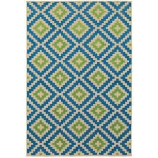 "Mixed Pile Lattice Sand/ Blue Indoor-Outdoor Area Rug - 6'7"" x 9'6"""